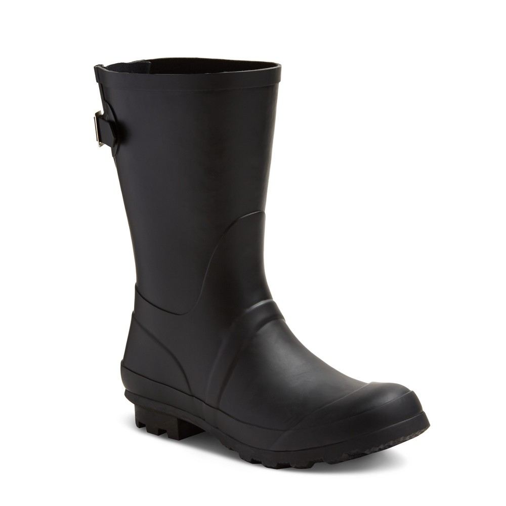 Womens Samantha Mid Calf Rain Boots - Merona Black 8