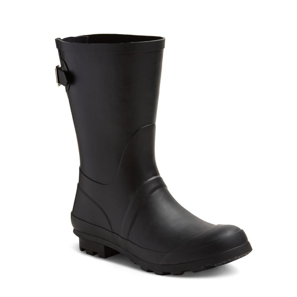 Womens Samantha Mid Calf Rain Boots - Merona Black 11