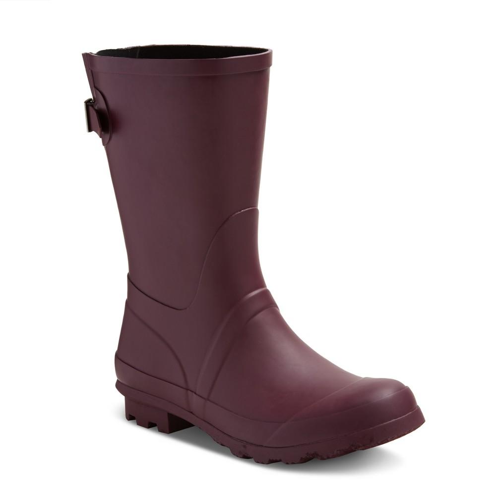 Womens Samantha Mid Calf Rain Boots - Merona Burgundian Wine (Red) 11