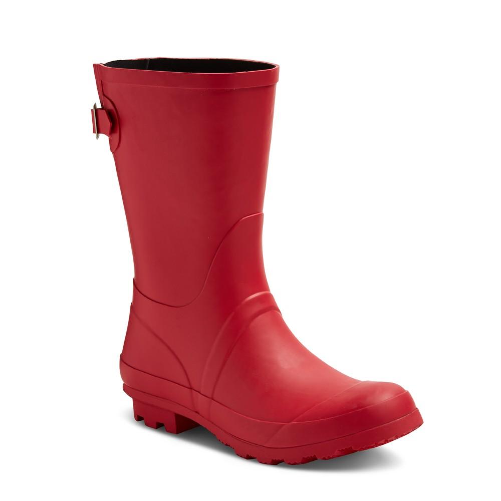 Womens Samantha Mid Calf Rain Boots - Merona Red 10