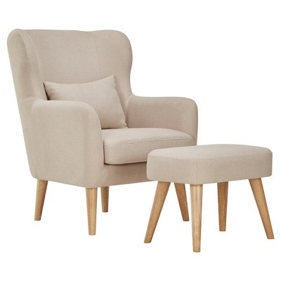 Hamlin Modern Wingback Chair And Ottoman Set - Oatmeal - Inspire Q