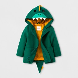 Toddler Boys' Faux Wool Overcoat Jacket - Cat & Jack™ Green Dinosaur