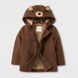 Toddler Boys' Faux Wool Overcoat Jacket - Cat & Jack™ Brown Bear