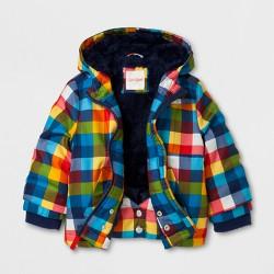 Toddler Boys' Anorak Jacket with Sherpa Lining - Cat & Jack™ Navy Plaid