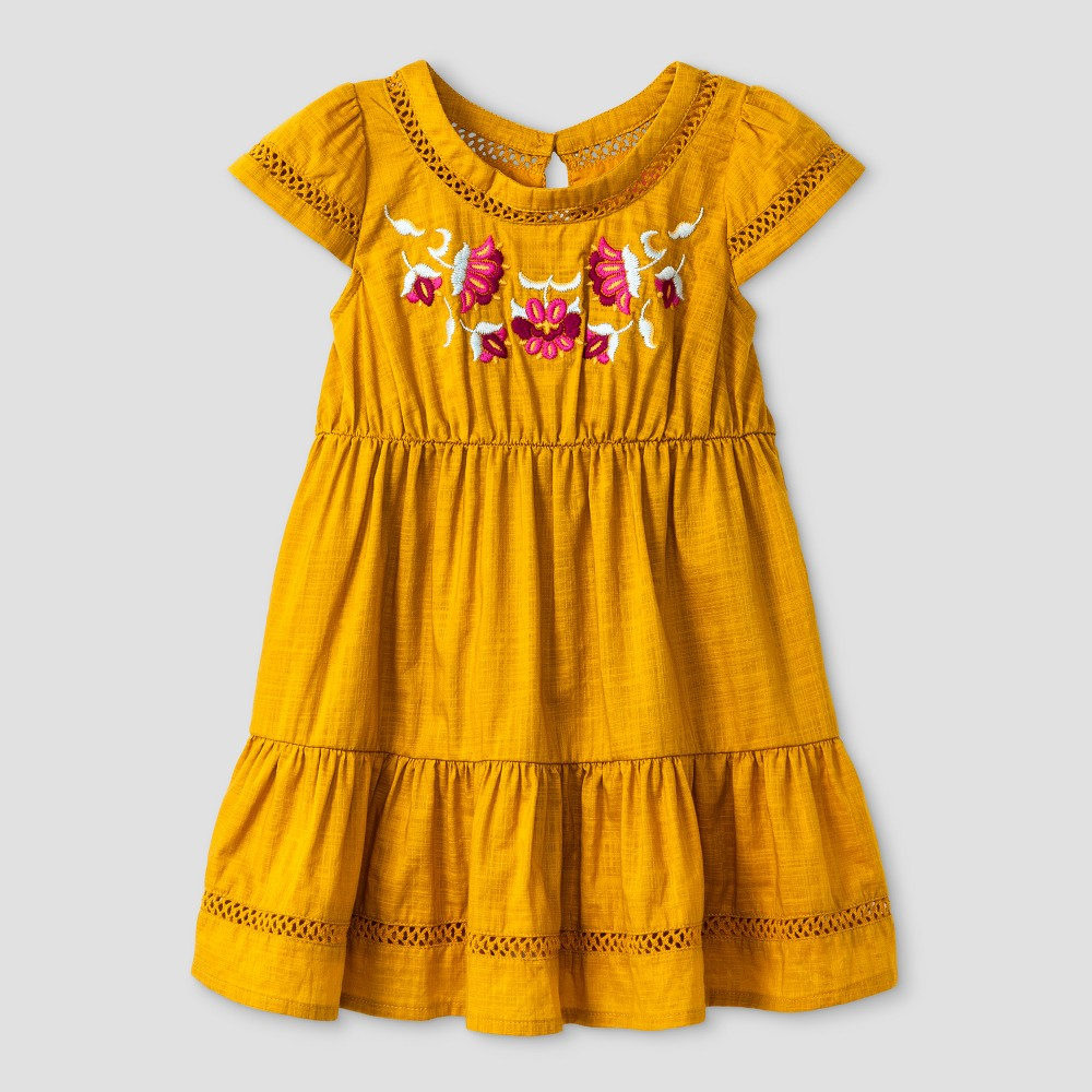 Toddler Girls Tiered Dress With Embroidery - Genuine Kids from OshKosh Autumn Yellow 12M, Size: 12 M