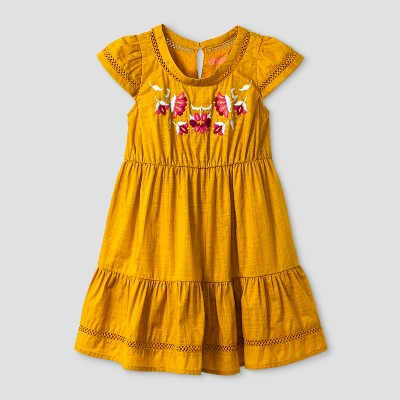 Toddler Girls' Tiered Dress With Embroidery - Genuine Kids™ from OshKosh® Autumn Yellow 2T