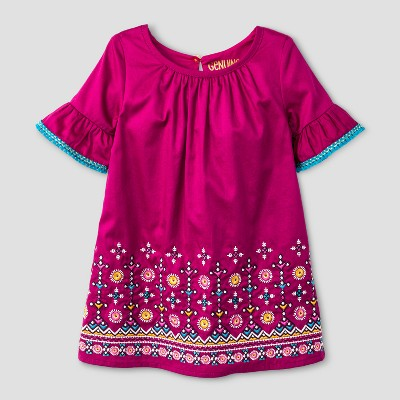 Toddler Girls' Border With Embroidery Dress - Genuine Kids™ from OshKosh® Springtime Pink 12M