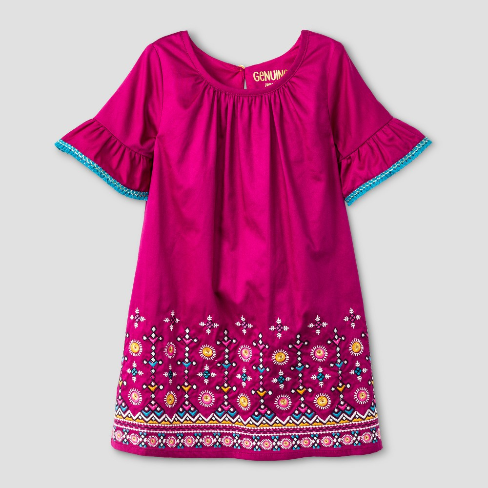 Toddler Girls Border With Embroidery Dress - Genuine Kids from OshKosh Springtime Pink 5T