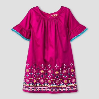 Toddler Girls' Border With Embroidery Dress - Genuine Kids™ from OshKosh® Springtime Pink 2T