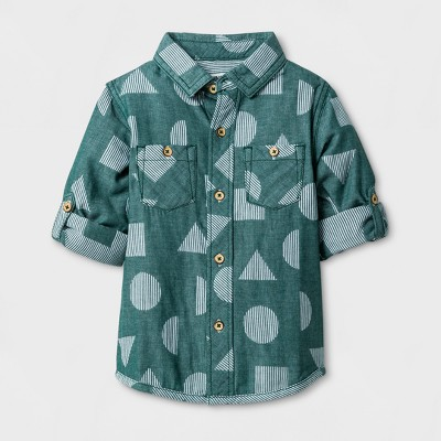 Toddler Boys' Long Sleeve Button Down Shirt Genuine Kids™ from OshKosh® - Green 2T