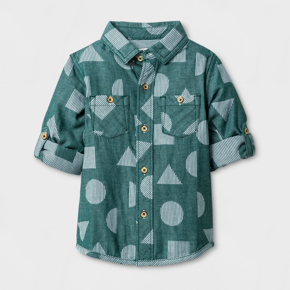 Toddler Boys Long Sleeve Button Down Shirt Genuine Kids from OshKosh - Green 2T