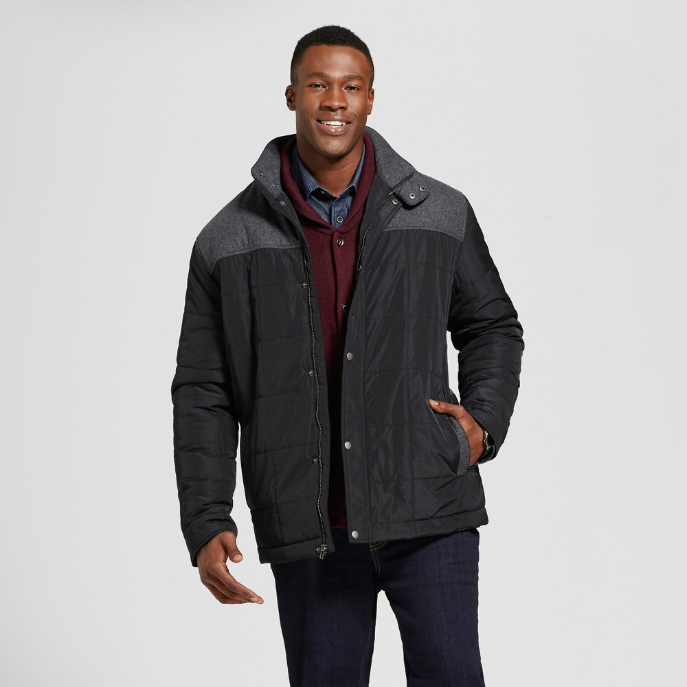 Mens Big & Tall Standard Fit Quilted Parka With Wool Patching - Goodfellow & Co Charcoal (Grey) Xlt
