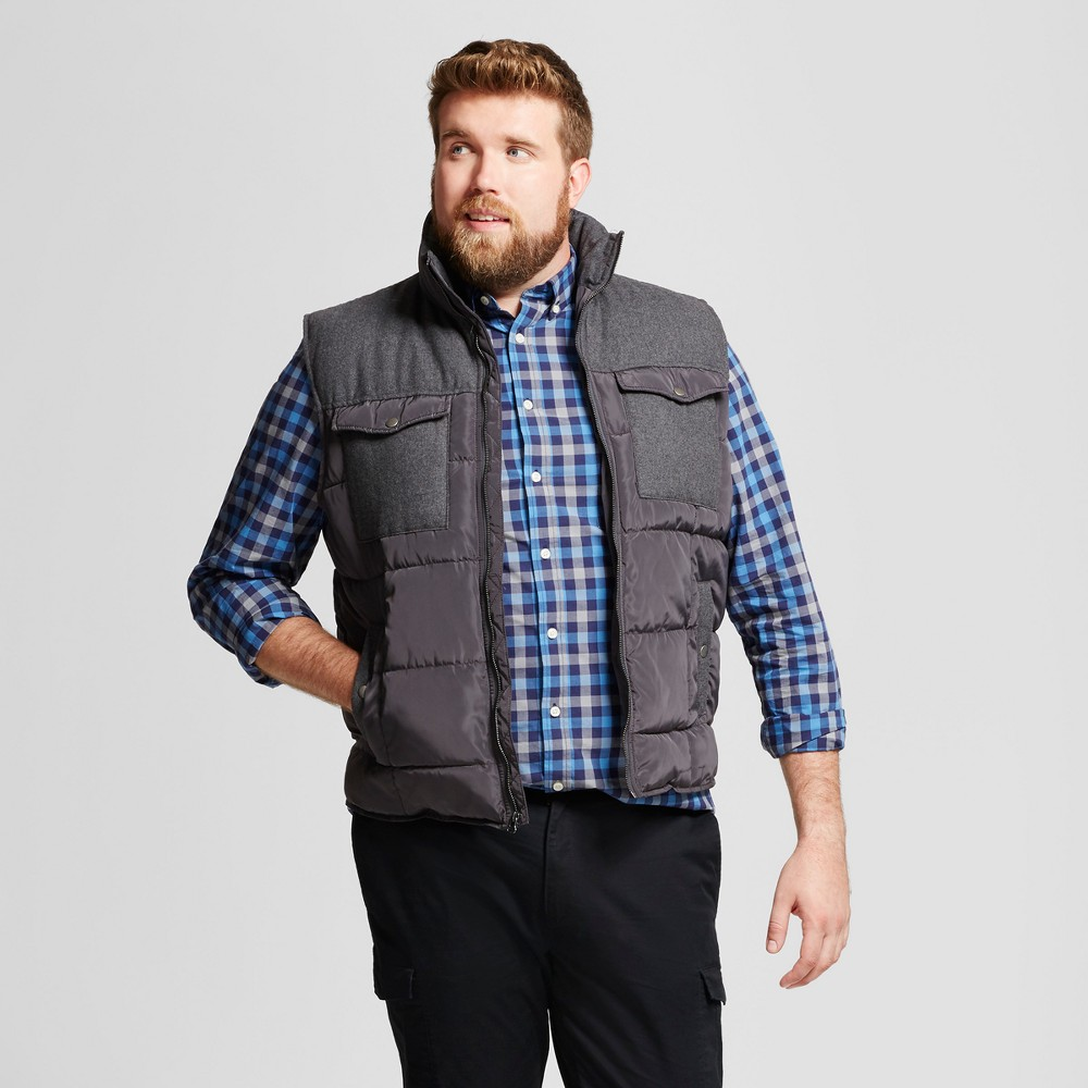 Mens Big & Tall Standard Fit Quilted Vest - Goodfellow & Co Gray LT