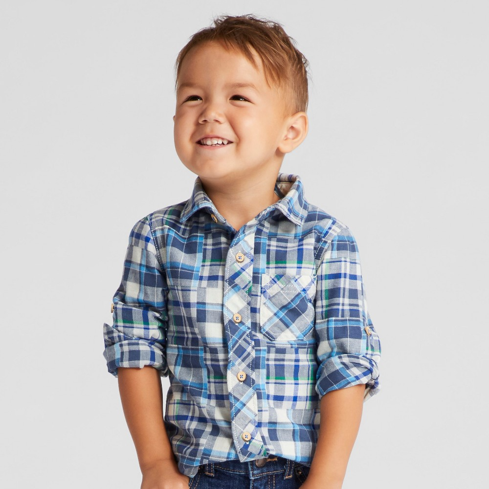 Toddler Boys Long Sleeve Plaid Button Down Shirt Genuine Kids from OshKosh - Blue 12M, Size: 12 Months