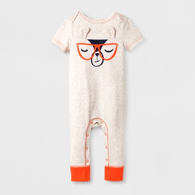 Baby Boys' Cool Llama Romper - Cat & Jack™ Cream 6-9M