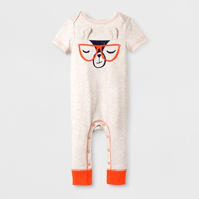 Baby Boys' Cool Llama Romper - Cat & Jack™ Cream 0-3M