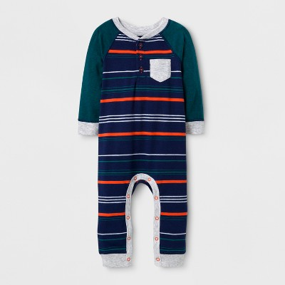 Baby Boys' Striped Henley Long Sleeve Romper - Cat & Jack™ Nightfall Blue 6-9M