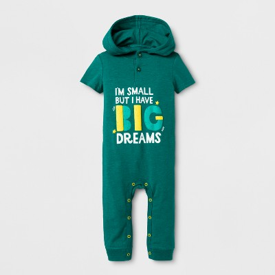 Baby Boys' 'Big Dreams' Hooded Short Sleeve Romper - Cat & Jack™ Green 18M