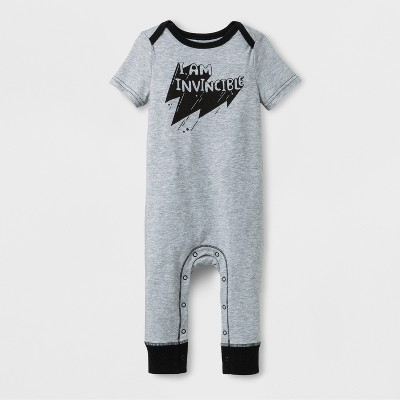 Baby Boys' 'I AM INVICIBLE' Short Sleeve Romper - Cat & Jack™ Gray 6-9M