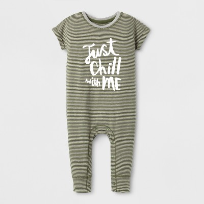 Baby Boys' 'Just Chill with Me' Short Sleeve Striped Romper - Cat & Jack™ Black/White 3-6M