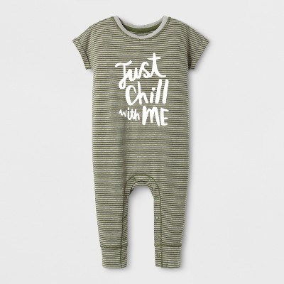 Baby Boys' 'Just Chill with Me' Short Sleeve Striped Romper - Cat & Jack™ Black/White 6-9M