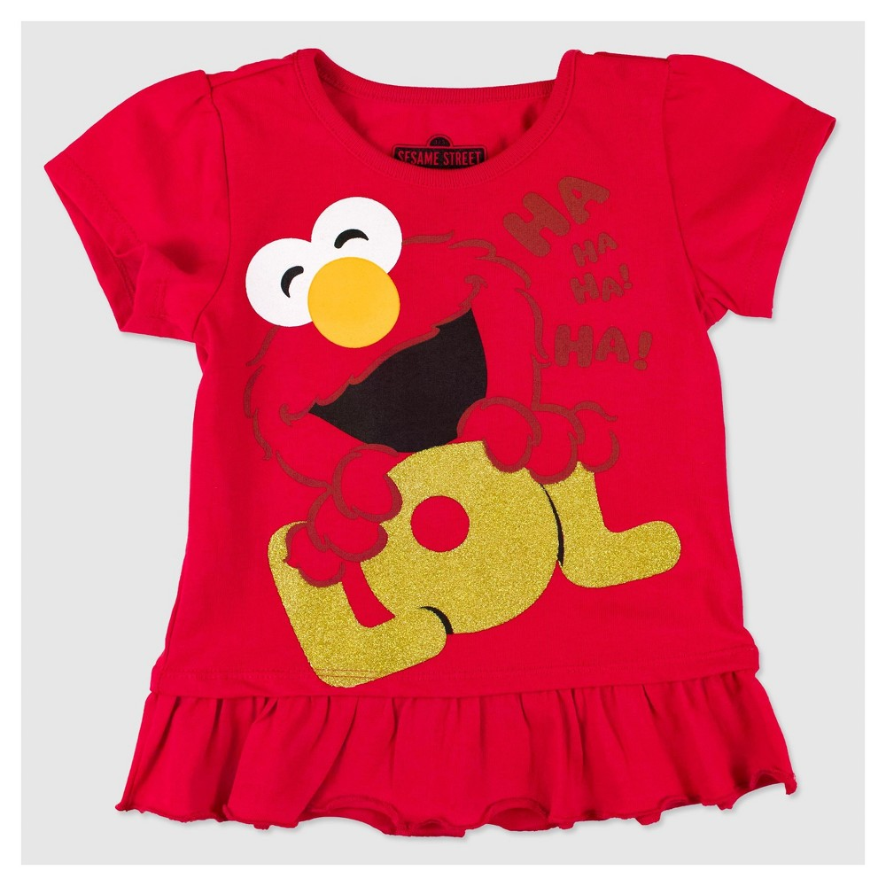 Toddler Girls' Sesame Street Elmo Lol T-Shirt - Red 2T