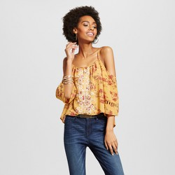 Women's Embroidered Cold Shoulder Crop Top - Xhilaration™ (Juniors')