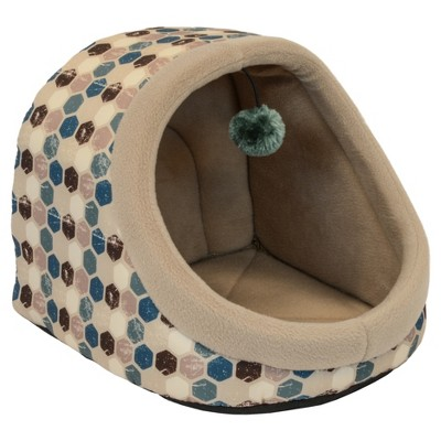 Dallas Hooded Cat Bed with Toy - Teal - 14''