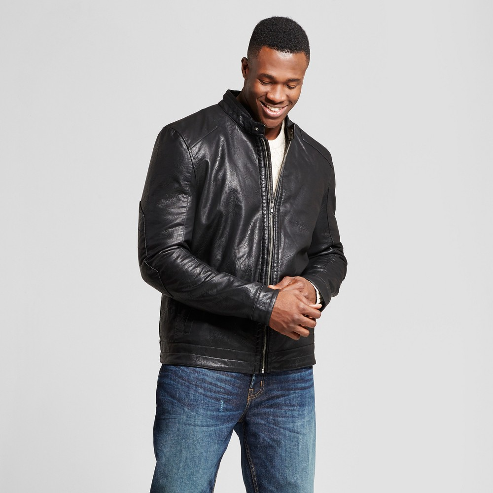 Mens Big & Tall Standard Fit Faux Leather Biker Jacket - Goodfellow & Co Black MT