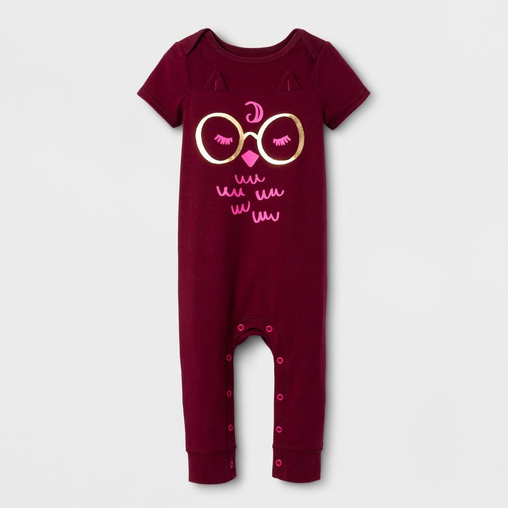 Baby Girls Owl Skinny Leg Romper - Cat & Jack Burgundy NB, Red