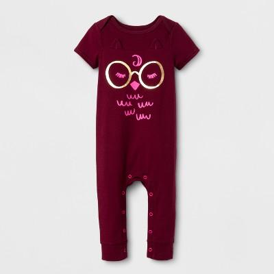 Baby Girls' Owl Skinny Leg Romper - Cat & Jack™ Burgundy 3-6 Months