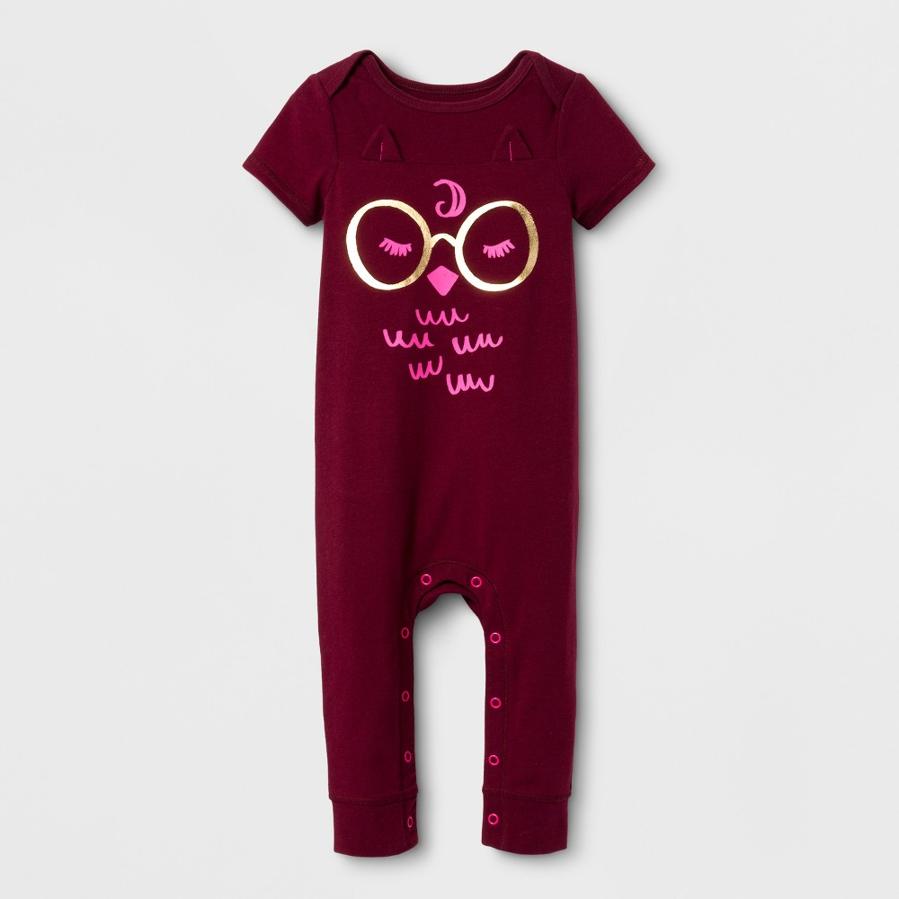 Baby Girls Owl Skinny Leg Romper - Cat & Jack Burgundy 12 Months, Red