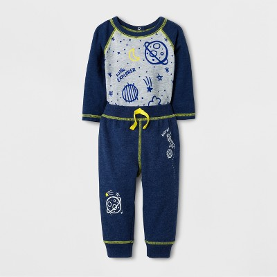 Baby Boys' 2pc Space Print Long Sleeve Bodysuit and Jogger Set - Cat & Jack™ Nightime Blue NB