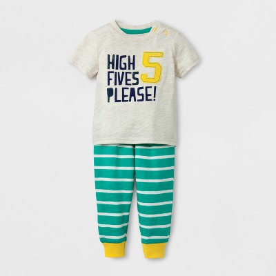 Baby Boys' 'HIGH FIVES PLEASE' Short Sleeve T-Shirt and Jogger Set - Cat & Jack™ Cream/Green 0-3M