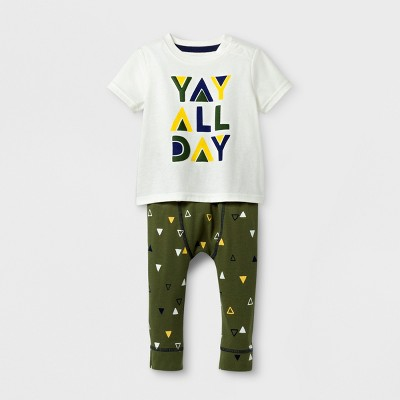 Baby Boys' 2pc Yay All Day T-Shirt and Jogger Set - Cat & Jack™ Cream/Dark Green 6-9 Months