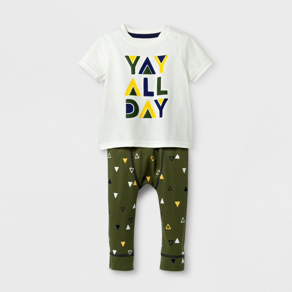 Baby Boys 2pc Yay All Day T-Shirt and Jogger Set - Cat & Jack Cream/Dark Green 6-9 Months, Size: 6-9 M, White