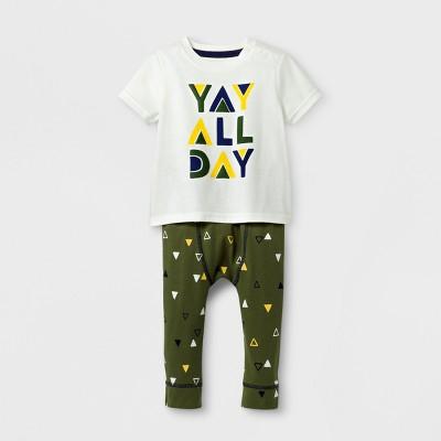 Baby Boys' 2pc 'YAY ALL DAY' Short Sleeve T-Shirt and Jogger Set - Cat & Jack™ Cream/Dark Green NB