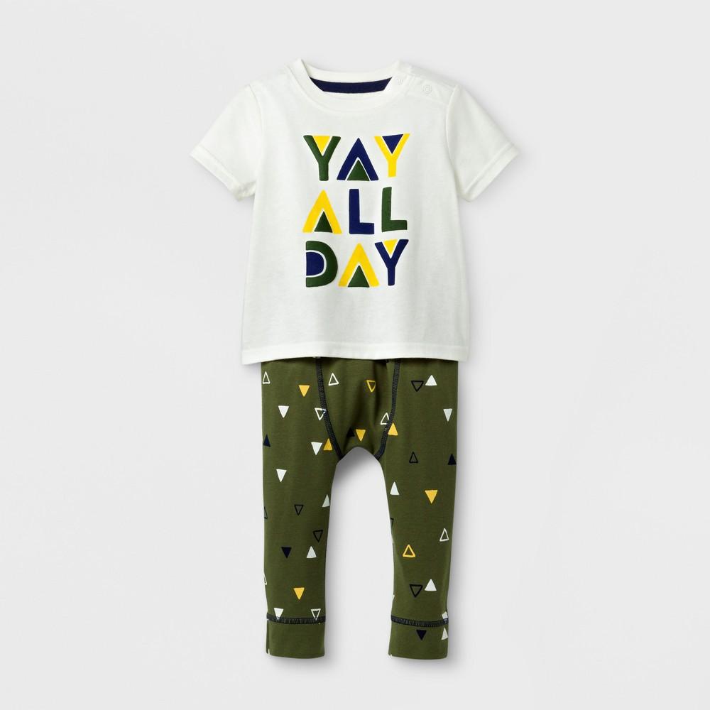Baby Boys 2pc Yay All Day T-Shirt and Jogger Set - Cat & Jack Cream/Dark Green NB, White