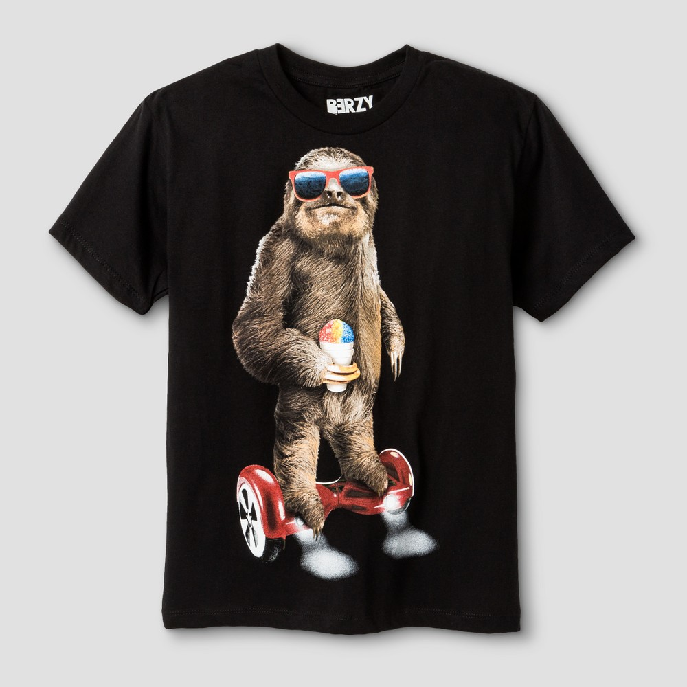 Boys' Sloth Riding Hoverboard Graphic T-Shirt - Black S