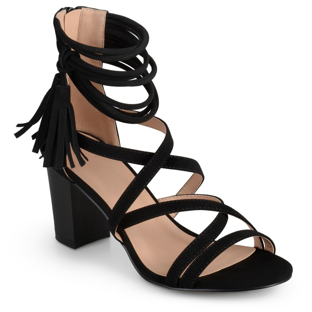 Womens Journee Collection Ruthie Strappy Tassel High Heels - Black 9
