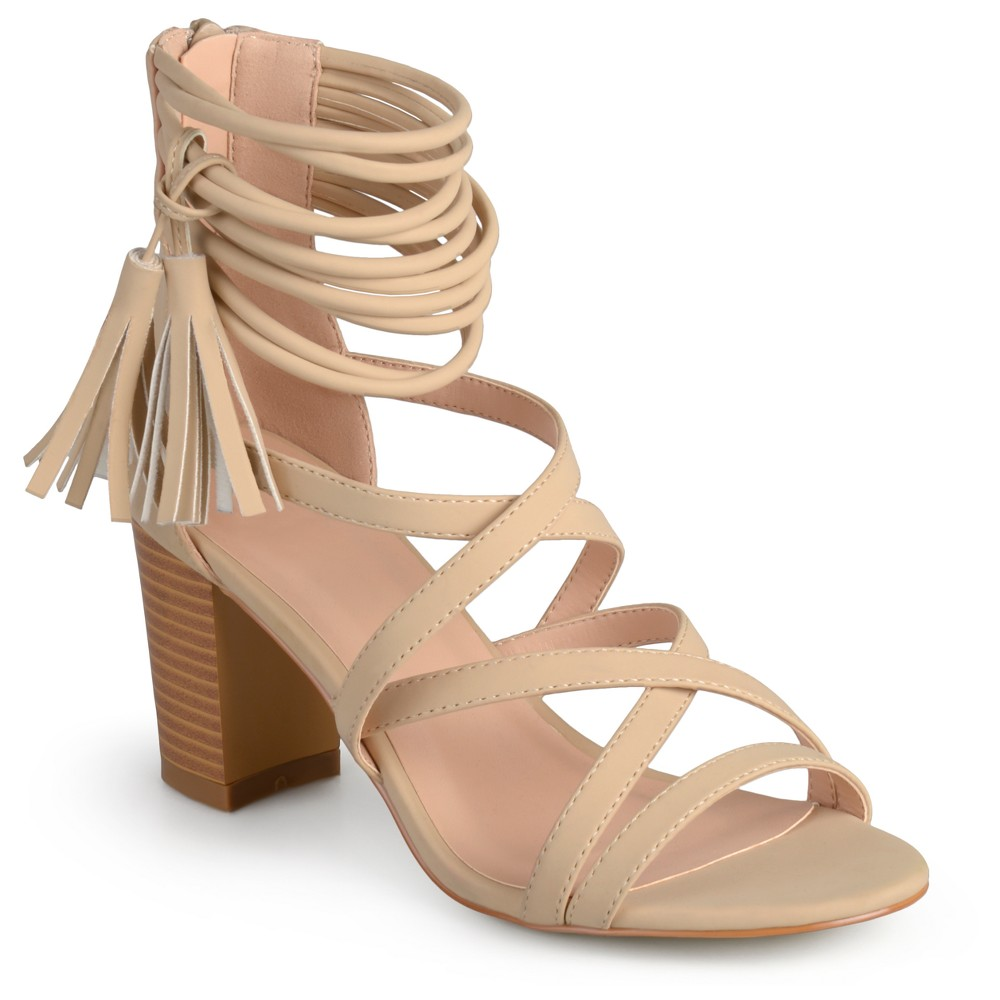 Womens Journee Collection Ruthie Strappy Tassel High Heels - Nude 11