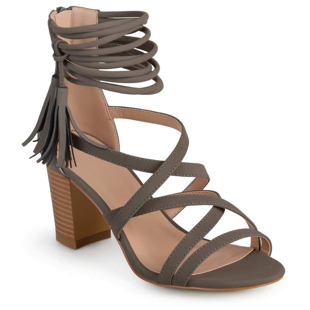 Womens Journee Collection Ruthie Strappy Tassel High Heels - Gray 6