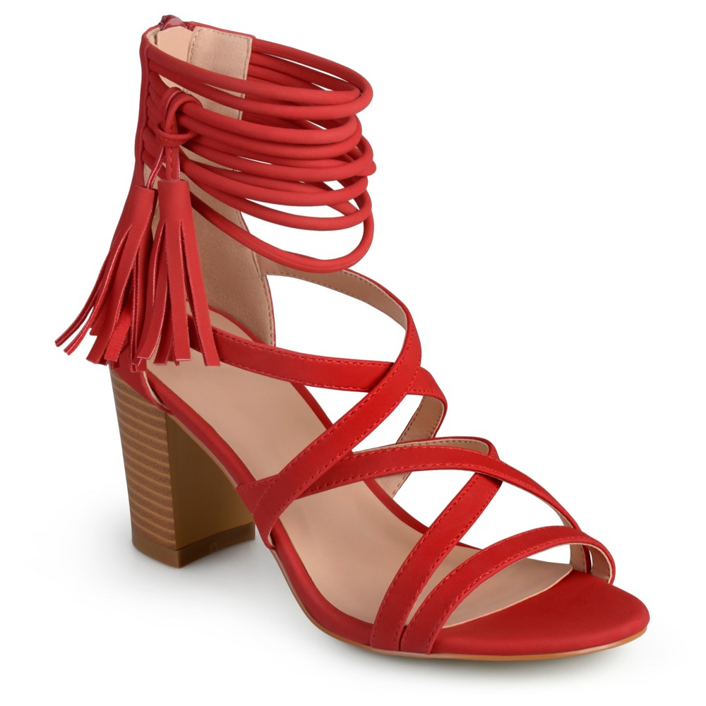 Womens Journee Collection Ruthie Strappy Tassel High Heels - Red 9