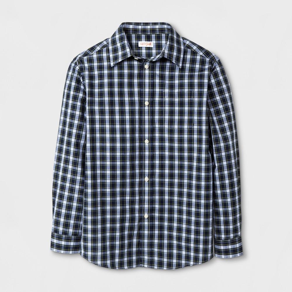 Boys Button Down Shirt - Cat & Jack Navy Green Check XL, Blue Green