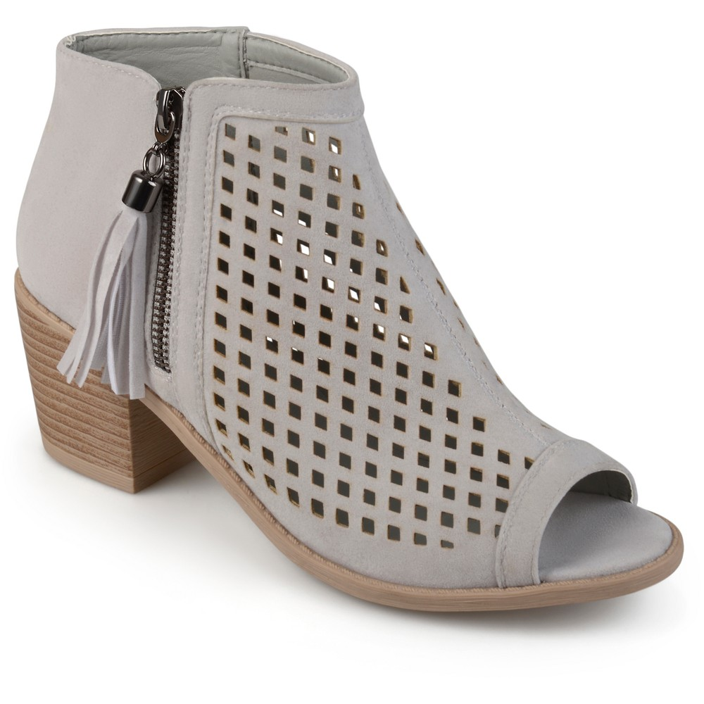 Womens Journee Collection Pixie Laser Cut Tassel Booties - Gray 12