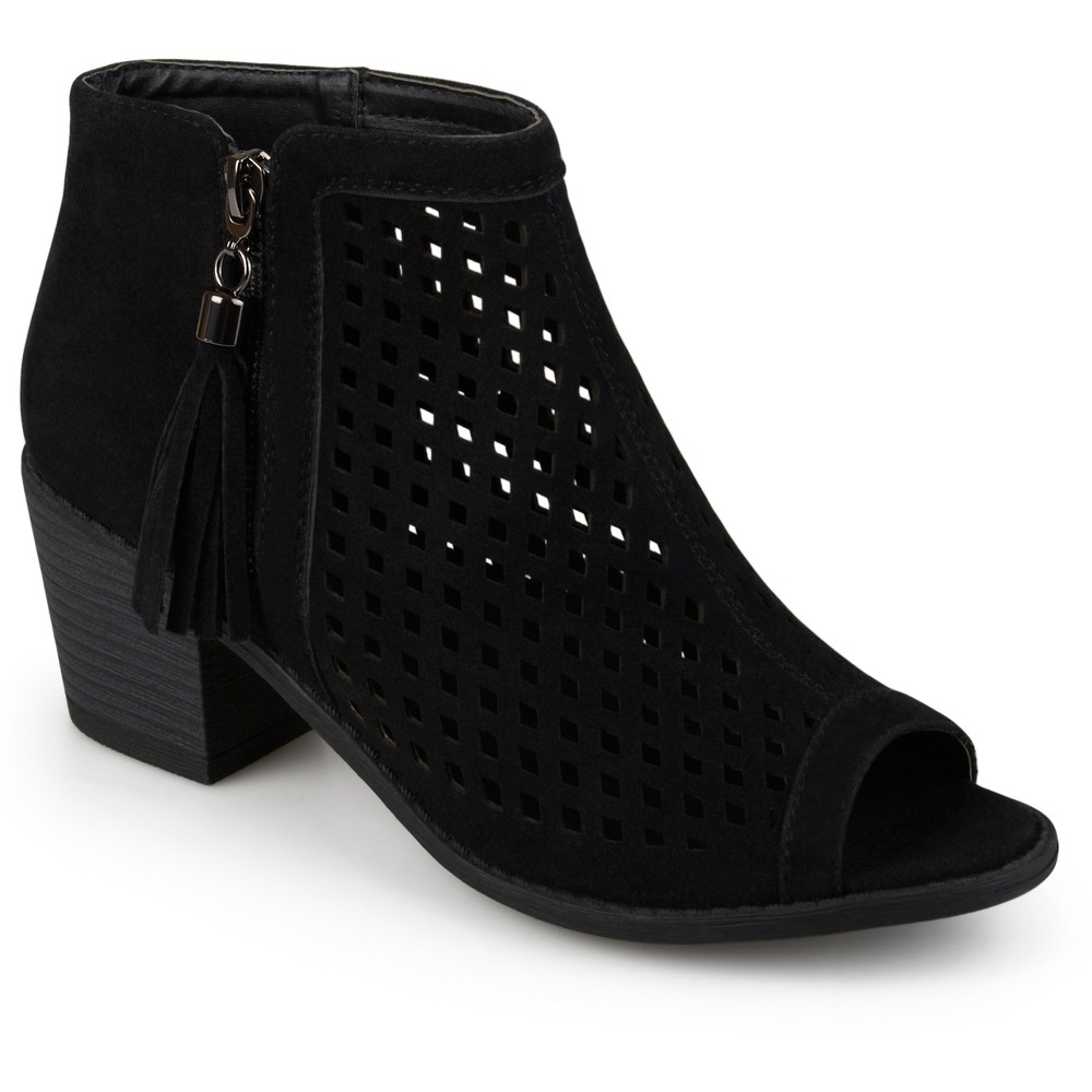 Womens Journee Collection Pixie Laser Cut Tassel Booties - Black 8.5