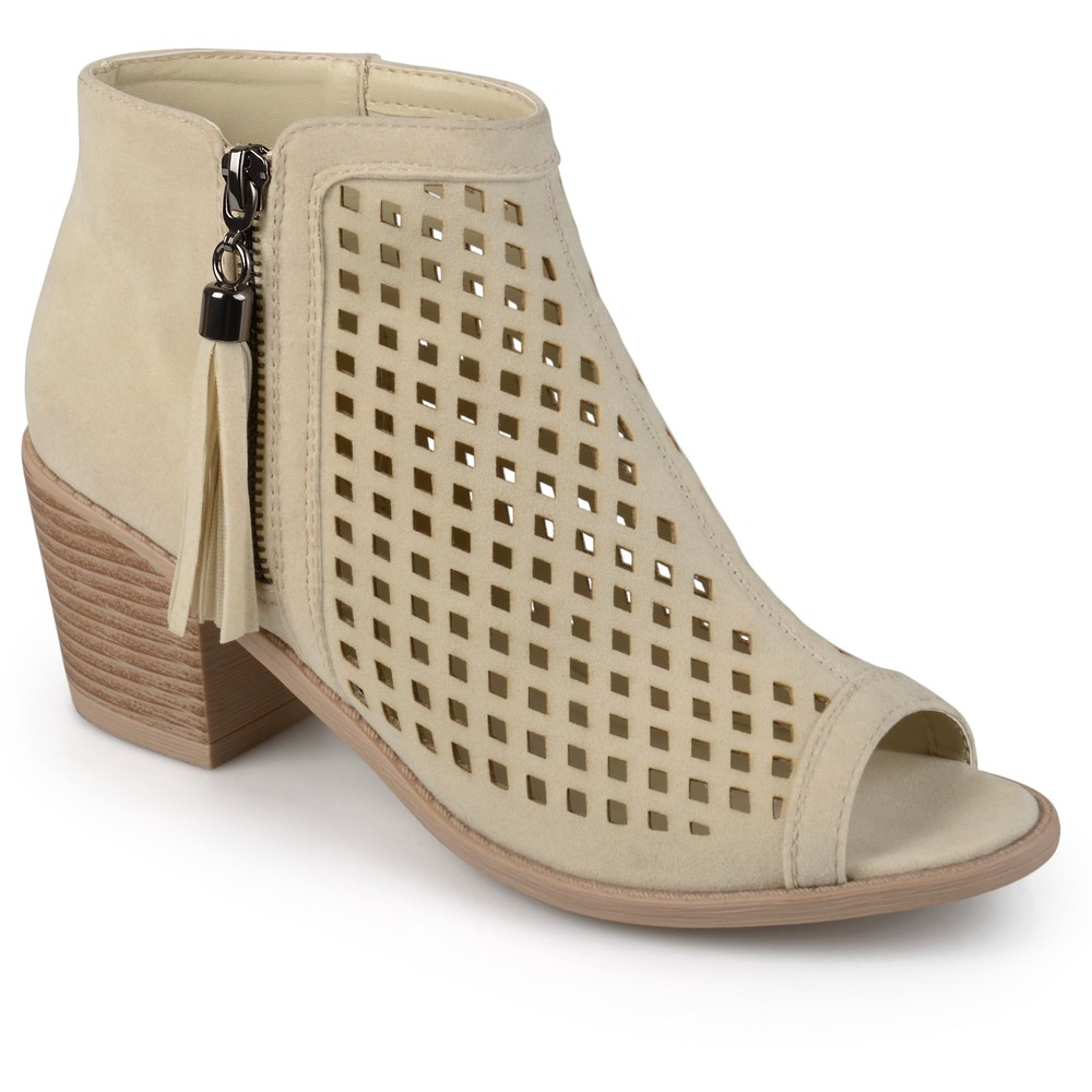 Womens Journee Collection Pixie Laser Cut Tassel Booties - Nude 9