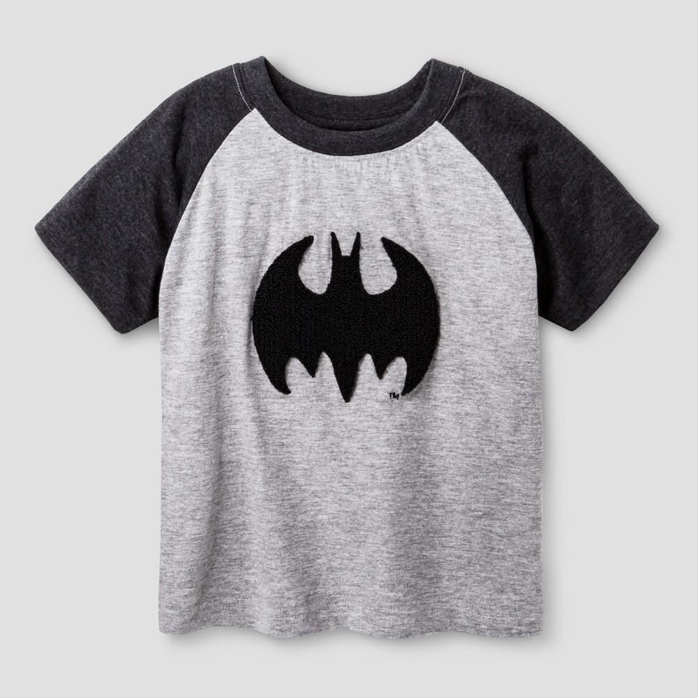 Toddler Boys Batman Chenille Applique T-Shirt - Charcoal 2T, Gray