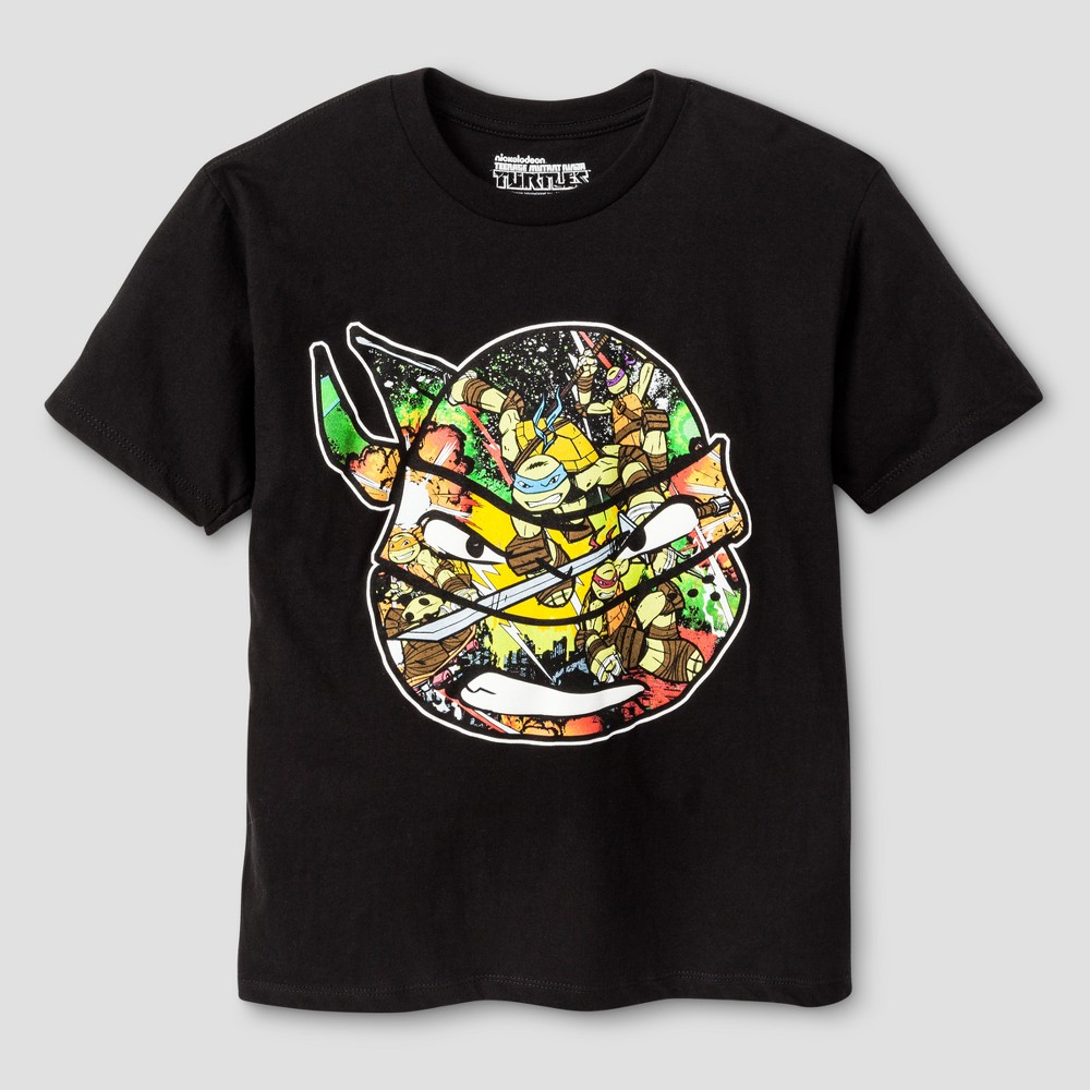 Teenage Mutant Ninja Turtles Boys Image Trap Graphic T-Shirt - Black XS