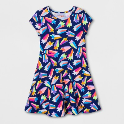 view Girls' Shooting Star Dress - Cat & Jack Blue on target.com. Opens in a new tab.